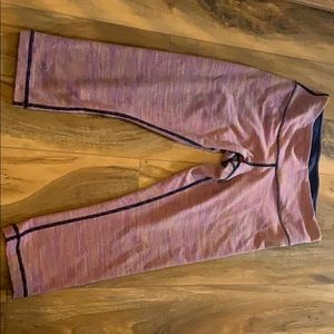Lululemon Pink Striped Cropped Leggings